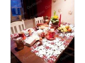 Vánoční prostírání bílo-červené, 4 ks