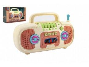 Rádio dětské plast na baterie se zvukem se světlem v krabici 27x18x10cm