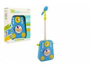 Mikrofon karaoke plast 18x26cm modrý na baterie se zvukem se světlem v krabici 27x34x10cm