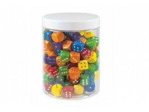 Hrací kostky barevné dřevo společenská hra 16mm 150 ks v plastové dóze 10x14cm