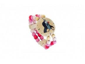 Hodinky s krtkem náramkové růžové dřevo na kartě
