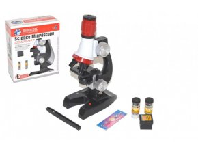 Mikroskop s doplňky plast 10x20cm na baterie se světlem v krabici 19x24x9cm