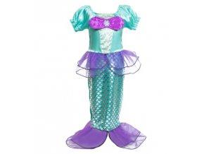 Kostým mořské panny, zeleno-fialový s mašlí, sukýnkou a šupinami