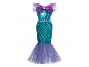 Fialovo-modrý kostým mořské panny, zdobený broží a šupinami
