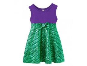 Fialovo-zelené šupinaté šatičky s širokými ramínky