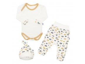 3-dílná bavlněná kojenecká souprava New Baby Carsi, vel. 56 (0-3m)