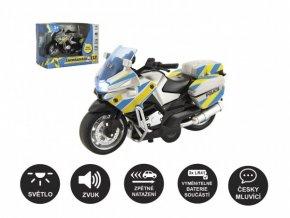 Motorka policejní 12cm kov/plast na zpětné nat. na baterie se světlem se zvukem CZ v krabičce 15x11