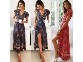 Ladies Multi Color Flower Fashion Mid Long Show Wear Fashion Comfortable Dress beach dress 1