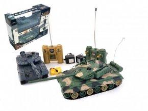 Tank RC 2ks 33cm+dobíjecí pack tanková bitva se zvukem se světlem v krabici 42x32x14cm