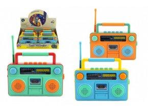 Rádio dětské plast 15x12cm na baterie se zvukem se světlem 3 barvy