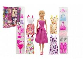 Panenka modelka nekloubová plast 30 cm s oblečením s doplňky v krabici