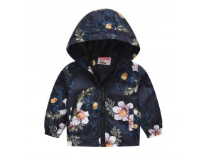 New Brand Kids Clothes Boys Girls Jackets Children Hooded Windbreaker Infant Waterproof Hoodies Toddler Baby Coat Navy White Flowers