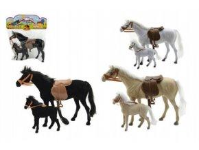 Kůň 27cm s hříbětem 13cm fliška 2ks  asst 3 barvy v sáčku