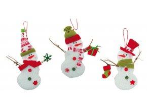 Vánoční dekorace Sněhulák s knoflíčky 19 cm