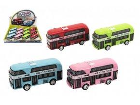 Autobus patrový kov/plast na zpětné natažení 9,5cm 4 barvy