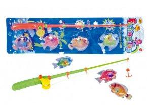Hra ryby/rybář magnetické plast 4ks+prut plast 44cm asst 2 barvy na kartě