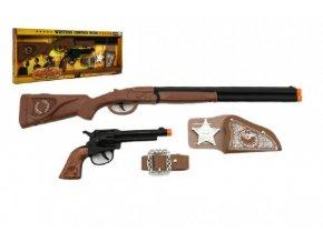 Kovbojská sada kolt pistole puška klapací + šerifská hvězda s doplňky 50cm plast 5ks v krabici