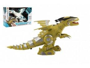 Dinosaurus chodící plast 35cm na baterie se zvukem se světlem 2 barvy v krabici 31x20x10cm