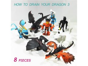 8 Pieces Lot How to Train Your Dragon 3 Toothless Light Fury Night Fury Action figure 0