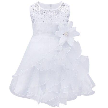 Dívčí společenské tylové šaty s volánky a kamínky Věk: 3T, Barva: Bílá
