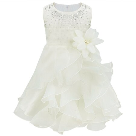 Dívčí společenské tylové šaty s volánky a kamínky Věk: 3T, Barva: champagne
