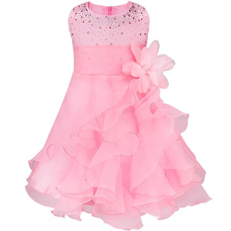Dívčí společenské tylové šaty s volánky a kamínky Věk: 3T, Barva: Růžová