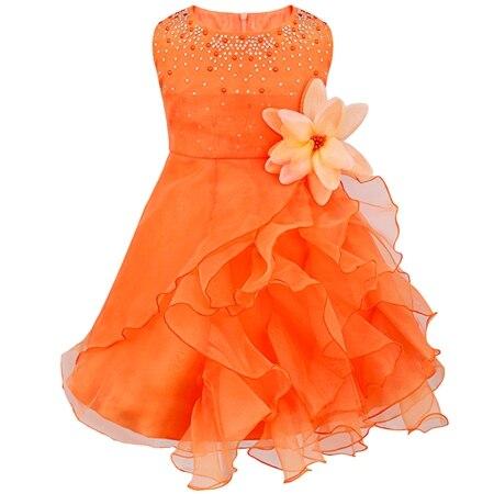 Dívčí společenské tylové šaty s volánky a kamínky Věk: 3T, Barva: Oranžová