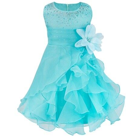 Dívčí společenské tylové šaty s volánky a kamínky Věk: 3T, Barva: modrá