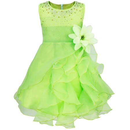 Dívčí společenské tylové šaty s volánky a kamínky Věk: 3T, Barva: zelená