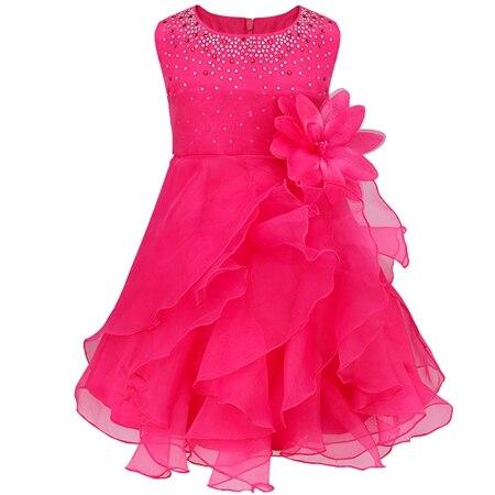 Dívčí společenské tylové šaty s volánky a kamínky Věk: 3T, Barva: Fuschia