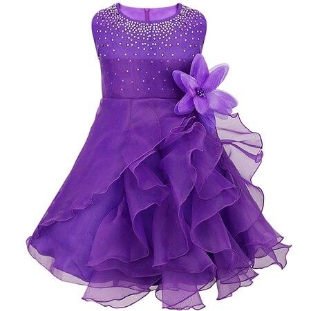 Dívčí společenské tylové šaty s volánky a kamínky Věk: 3T, Barva: Fialová