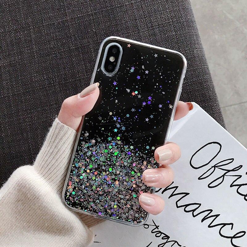 iPhone třpytkový kryt HVĚZDY a KOLEČKA Barva: Černá, Model telefonu: 11 Pro