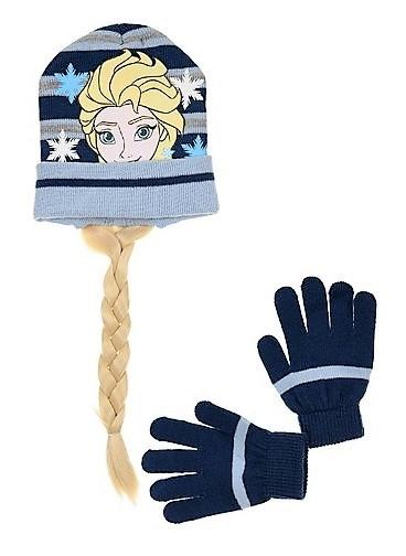 Dívčí set čepice s copem a rukavic Frozen, tm. modrá Velikost: 52