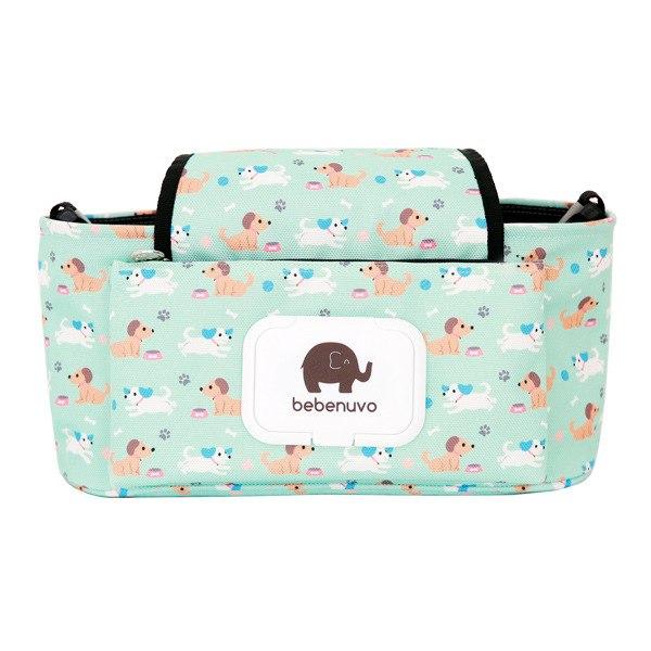 Cestovní přebalovací taška na kočárek Motiv: zelený se psy