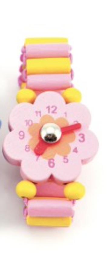 Dřevěný náramek hodinky Barva: Růžová