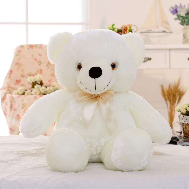 30/50/80 cm velký svítící plyšový medvěd Barva: Bílá, Velikost: 50 cm