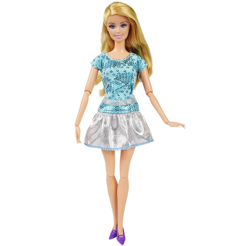 Party oblečení pro Barbie Vzor  Šedá sukně tyrkysové tričko b929e1271f