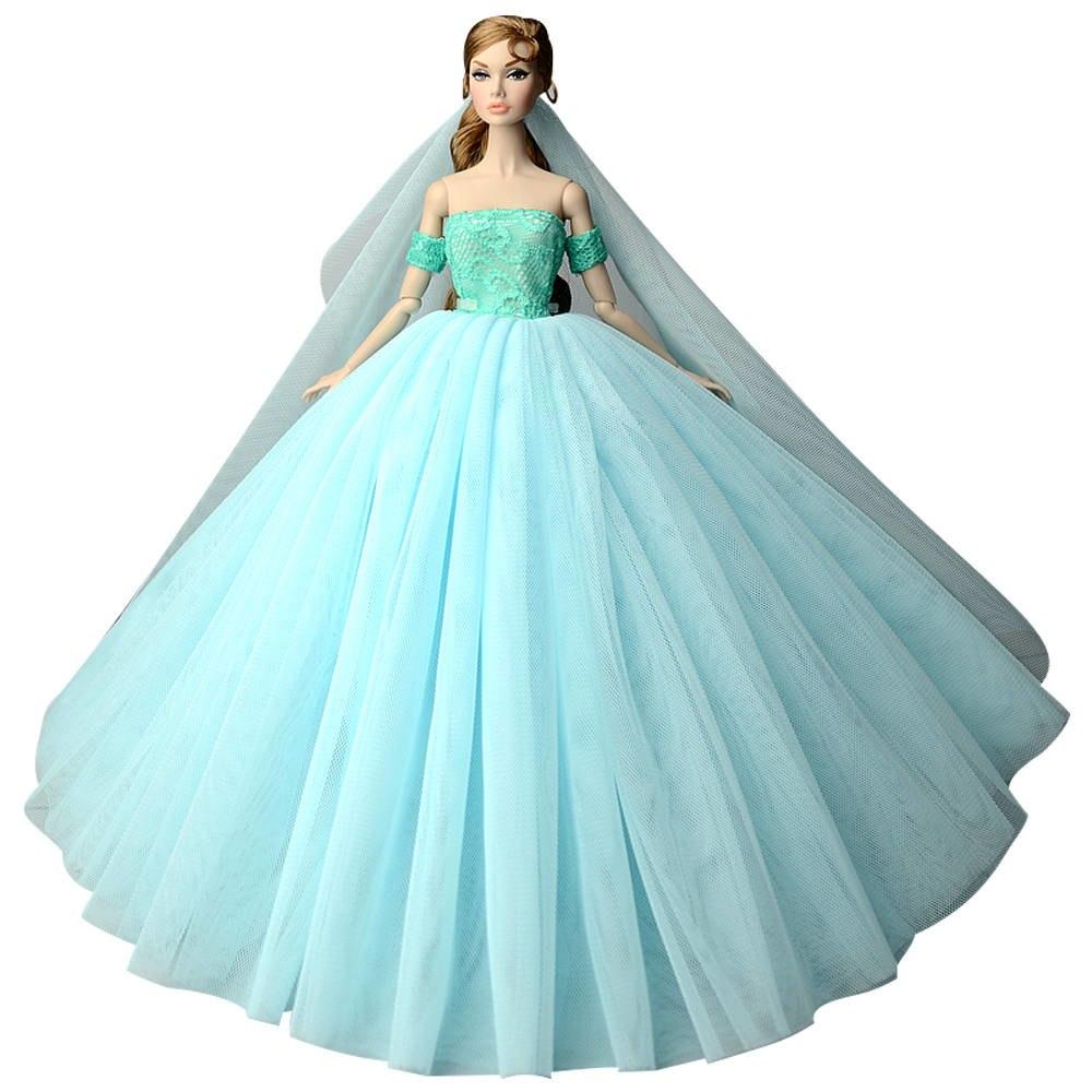 """Dlouhé svatební šaty se závojem """"různé barvy"""" Motiv: bledě modré se zelenkavým korzetem"""