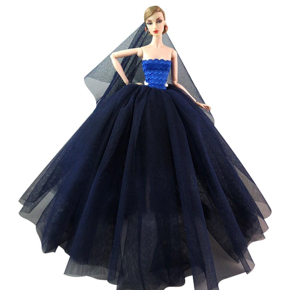 """Dlouhé svatební šaty se závojem """"různé barvy"""" Motiv: tmavě modré"""