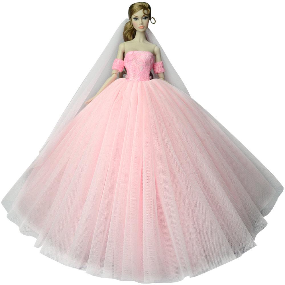 """Dlouhé svatební šaty se závojem """"různé barvy"""" Motiv: růžové s rukávníky"""