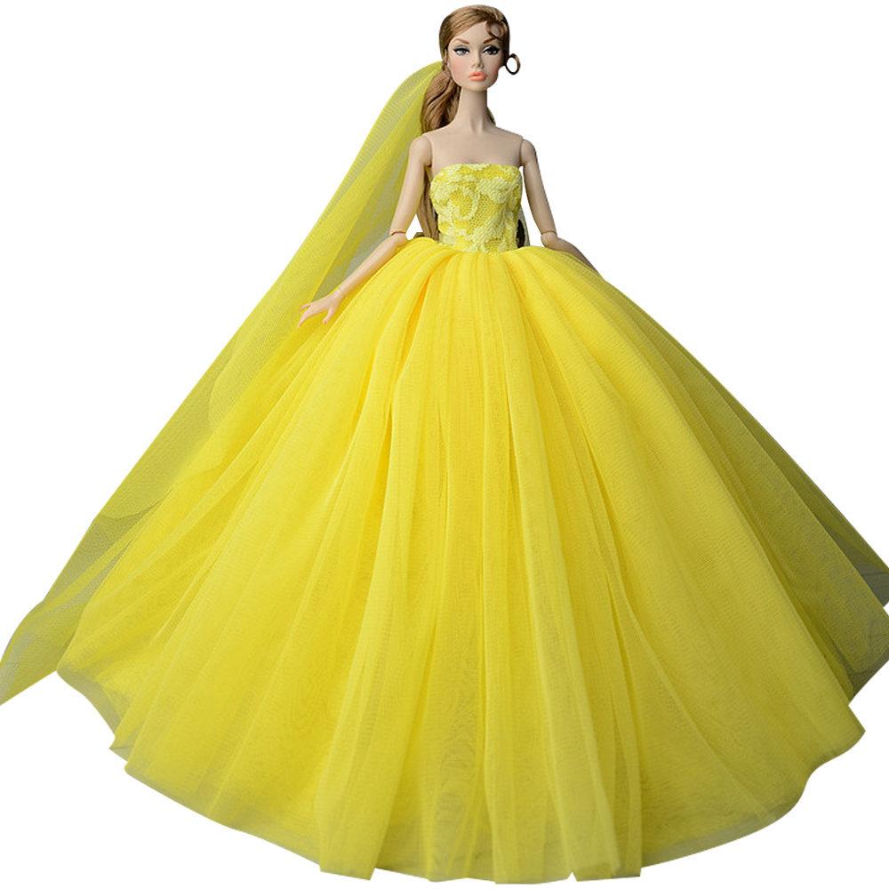 """Dlouhé svatební šaty se závojem """"různé barvy"""" Motiv: žluté"""