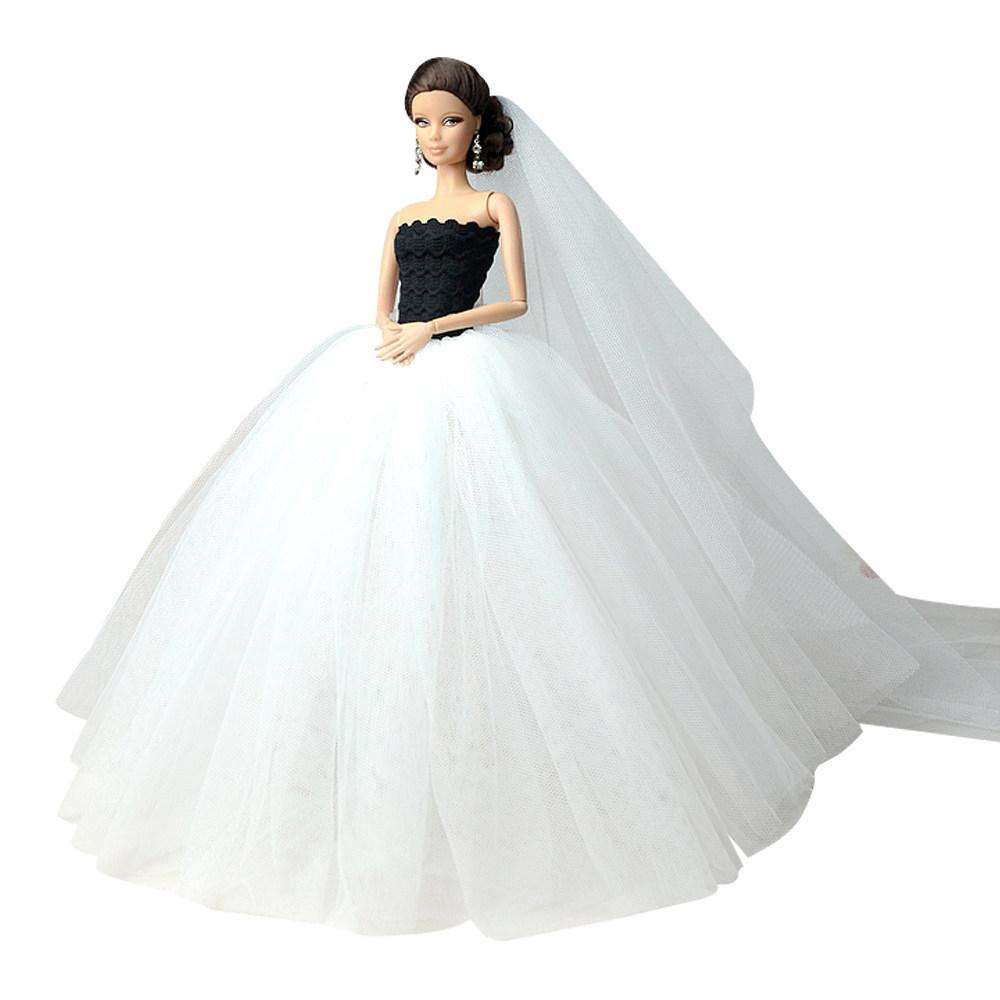 """Dlouhé svatební šaty se závojem """"různé barvy"""" Motiv: bílo-černé"""