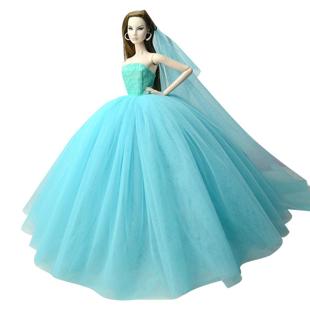 """Dlouhé svatební šaty se závojem """"různé barvy"""" Motiv: bledě modré"""