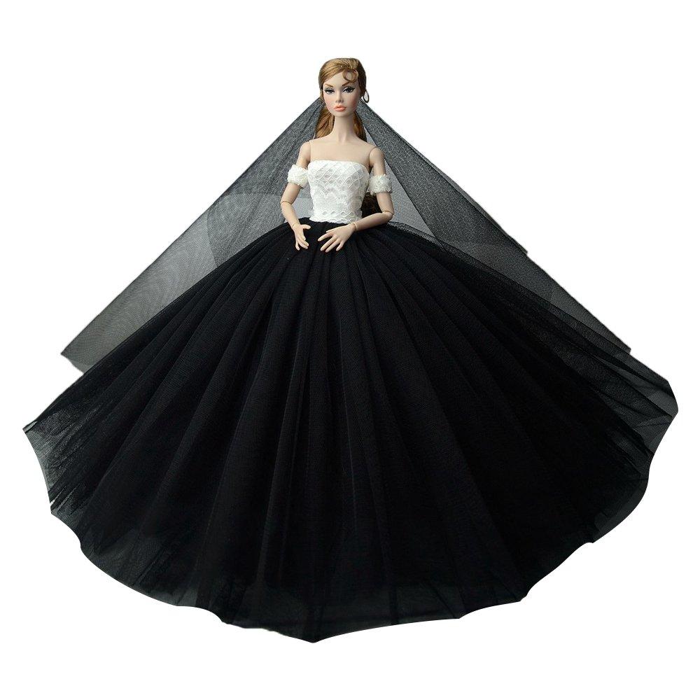 """Dlouhé svatební šaty se závojem """"různé barvy"""" Motiv: černo-bílé"""
