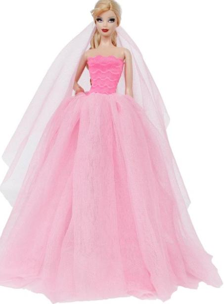 3fe6f44cba36 Různé druhy dlouhých šatů pro Barbie Motiv  růžové se závojem