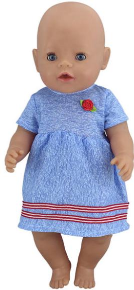 6e64972e05b9 Šaty na Baby Born panenku Variace  modré šaty s růžičkou