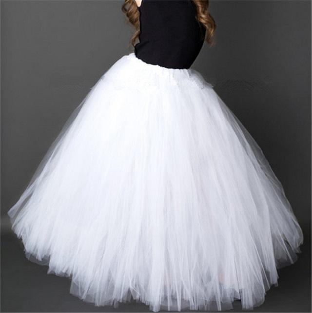 Dlouhá tylová TUTU sukně Věk: 3T, Motiv: 2 bílá