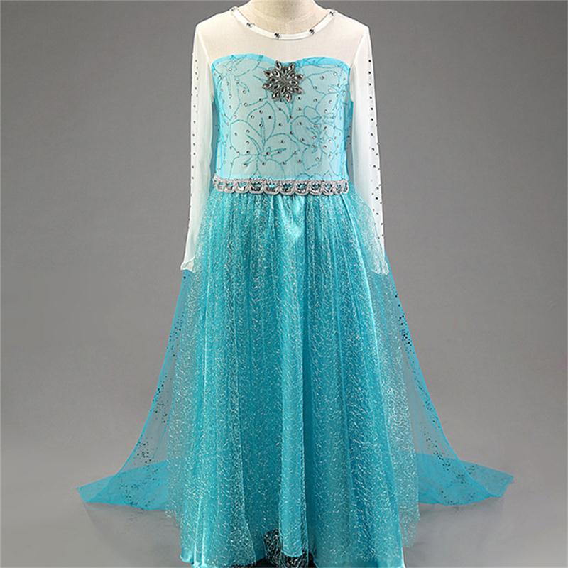 """Šaty z pohádky Frozen """"Ledové království"""" Věk: 10T, Motiv: 5 Elza s broží a třpytkami"""