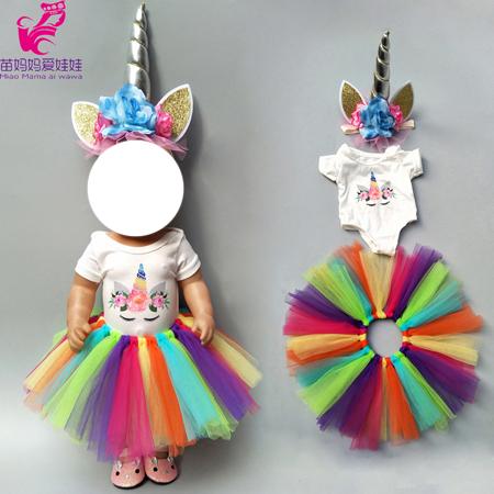 Body s TUTU sukní pro American girl a Baby Born 43-45 cm Druhy: duhové