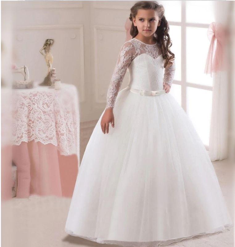 Dlouhé bílé svatební šaty s dlouhým rukávem Věk: 9T